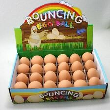 6 Bouncy Eggs Rubber Balls Fun Easter Decorations Joke Toy Ball Fake Party Bags