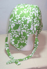 Flowers Skull Cap  Doo Rag w/Cool Max Lining (Lime Green w/White background)