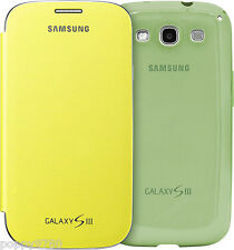 Samsung OEM Cover Bundle For Galaxy S3 SIII Phone Yellow Flip + Green Protective