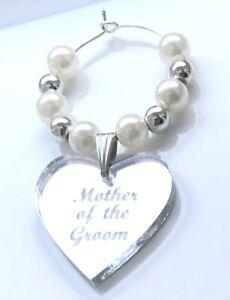 Personalised Wedding Glass Charm Place Setting Keepsake Silver & Pearl Beads