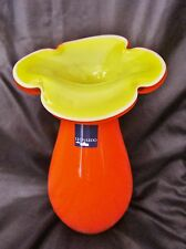 vieux vase-pot-en pâte de verre -corolle-Leonardo-orange- jaune-yellow-hand made