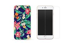 iPhone 8 Combo coque gel + protection écran verre trempé - Fleur Bleue