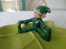 New listing Vintage signed GILNER Pixie Elf on Lime Green Leaf