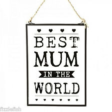 BEST MUM Black & Glass SIGN Sentimental Mummy Mothers Day Wall Hanging Plaque