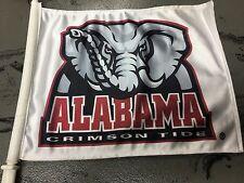 University of Alabama White Car Flag with Traditional Elephant Logo