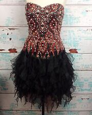 Vtg 90s Sherri Hill Black Red Jewel Beaded Strapless Prom Party Dress 6 Pageant