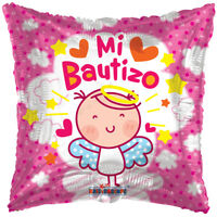 "Baptism Balloon 18"" Mi Bautizo Spanish Mylar Foil Pink Party Decorations Q Gifts"