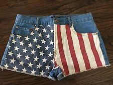 New listing Women's Us Flag Denim Shorts, Red, White, Blue, Frayed, Size 29, 10, Forever 21