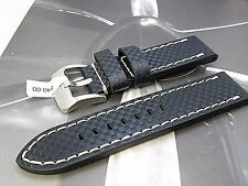 22mm euro carbon fiber genuine leather watch band Anti allergic Fits Hamilton