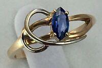 Vintage Original Rose Gold 585 14 KT Ring with Natural Sapphire, Rose Gold 585