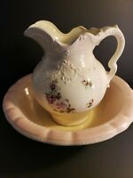 VTG Arnel's Ceramic Pink Floral Pitcher and Basin Roses Shabby Chic Farmhouse