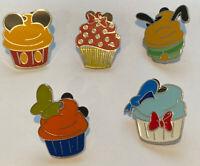 Disney Pins Character Cupcake Lot - Mickey, Minnie Pluto, Goofy and Donald