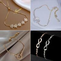 Fashion Crystal Zircon Flower Infinity Bracelet Adjustable Bangle Women Jewelry