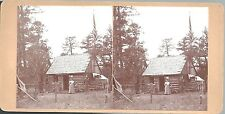 Stereoview of First Ranger Cabin at Walnut Canyon AZ - Wm H Pierce & Wife c1910
