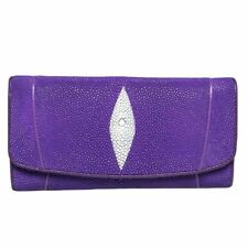 Fairy-Leather Genuine Stingray Neat Purple Glamorous Clutch Leather Long Wallet