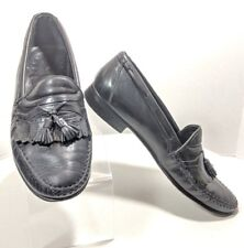 Johnston & Murphy Men's Size 10m Kiltie Tassel Black Leather Loafers (sb5)