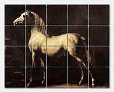 Gericault Grey Horse Ceramic Mural Backsplash Kitchen 22x17 in
