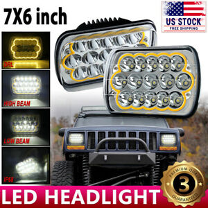 "For Jeep Cherokee XJ Pair 7x6"" 5x7"" LED Headlight DRL Turn Signal Projector Beam"