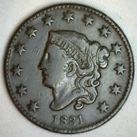 1831 Coronet Large Cent US Copper Type Coin Very Fine Newcomb N11 VF M1 Penny