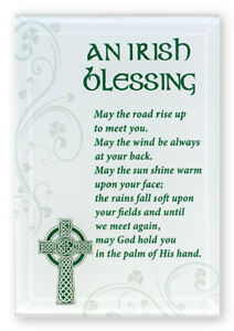 An Irish Blessing Glass Free Standing Plaque Words and Sentiment Religious Gift