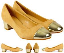Angeline Women's Low Mid Block Heels Size 4 Beige Ladies Court Pointed Toe Shoes