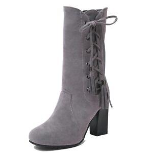 Lace Up Women's Fashion Ladies Faux Suede Block Heels Combat Work Dress Boots