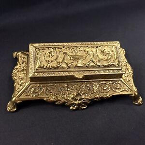 Vintage Brass Inkwell Stand Desk Ink Pot Holder Writing Accessory 3 Compartments