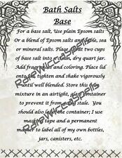Recipe for Making Base for Magick Bath Salts 1pg for Wicca Spell Book of Shadows