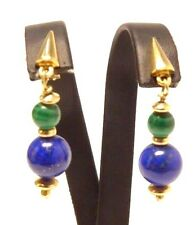 Ohrringe earrings 585 GOLD Lapislazuli Malachit boucle d'oreille or oro Art Deco