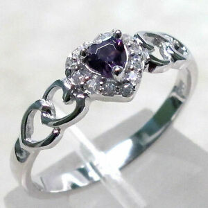 LOVELY HEART AMETHYST 925 STERLING SILVER RING SIZE 5-10
