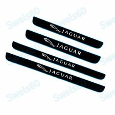 4PCS Car Door Scuff Sill Cover Panel Step Protector with Blue Border For Jaguar