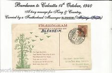 INDIA 1940 KING GEORGE PIGEON FLOWN PIGEONGRAM BLENHEIM STEPHEN SMITH SIGN STAMP