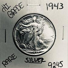 1943 LIBERTY WALKING SILVER HALF DOLLAR HI GRADE U.S. MINT RARE COIN 9245