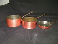 3 vintage French copper pans, with brass handles