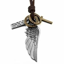 Men Vintage Angel Feather Eagle Wing Cross Leather Chain Necklace Pendan