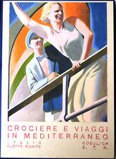 BOZZETTO MANIFESTO CROCIERE E VIAGGI IN MEDITERRANEO Autore Gino Boccasile 1934