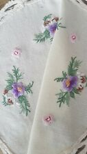 SWEET PURPLE CIRCLE VIOLA/VIOLETS HAND EMBROIDERED DOILY