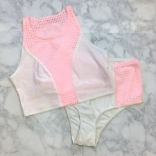NWOT American Apparel M Cali Sun Fun Sporty Girl 2-Piece Shiny Pink White Mesh