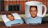 Wentworth Miller Awesome Ceramic Coffee MUG + Wooden Coaster Gift Set