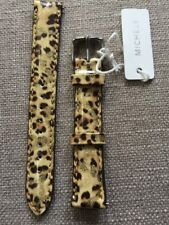 NWT Michele 16mm Leather Watch Strap Gold Metallic Brown Leopard Spots Print