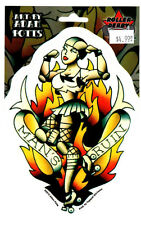 ROLLER DERBY GIRL MAN'S RUIN ALL WEATHER DECAL BUMPER STICKER traditional tattoo