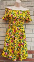 YELLOW MULTI COLOUR TROPICAL FLORAL RUCHED BARDOT A LINE MINI DITSY DRESS 8 UK S