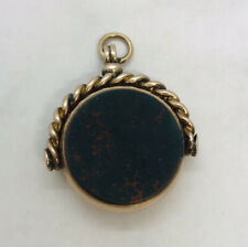 1912 old 9ct Rose gold Albert chain Swivel Fob Blood Stone Cornelia 9.60 grams