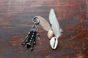 Lovely Handmade Black & Silver Leather Charm Arrows Keyring Key Ring