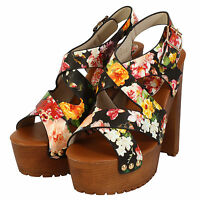 NEW WOMENS HIGH BLOCK HEEL LADIES FLORAL PRINT ANKLE STRAP SANDALS SHOES SIZE UK