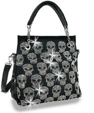 RHINESTONE SKULL BLING GOTHIC BIKER MESSENGER BAG PURSE BLACK