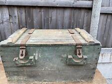 More details for vintage antique large wooden travel trunk chest