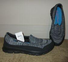 Black/Grey Heather SKECHERS SPORT Memory Foam Slip On Shoes~ STROLZ 2.0 Ladies 9