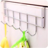 5 Hooks Stainless Steel Hooks Door Bathroom Hanger Holder Loop Organizer Rack