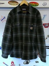 Carhartt Sherpa Lined Flanned Jacked Plaid Green Work L